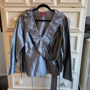 Sunny Leigh silver silk wrap around shirt size 20